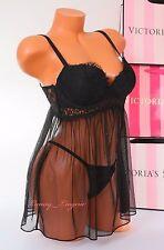 Victoria's Secret VS Lingerie Set Fly-away Babydoll Push-up 34C V-String Black