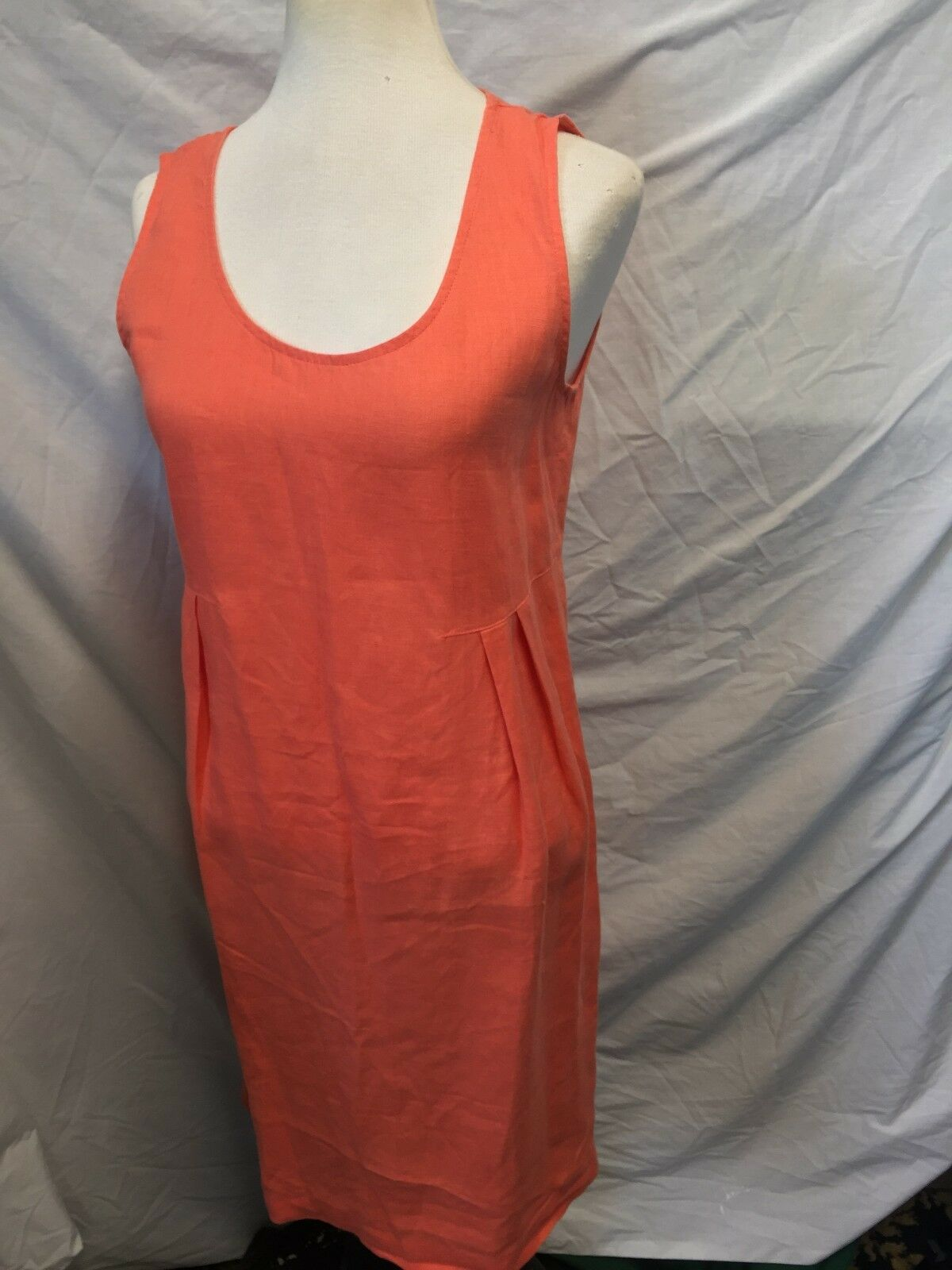 J JILL Orange LINEN CASUAL PARTY DRESS Größe XS EXTRA SMALL CHEST 34