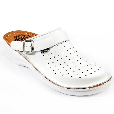 White Dr Punto Rosso BRIL U20 Men Leather Slip On Clogs Mules Slippers Shoes