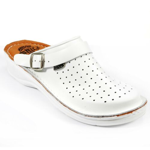 Dr Punto Rosso BRIL U23 Men Leather Slip On Clogs Mules Slippers Shoes White