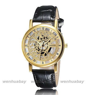 Skeleton Mens Brown Leather Band Quartz Stainless Steel Gold Wrist Watch NEW