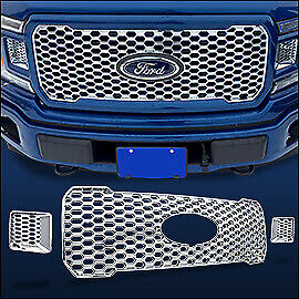 Chrome-Grille-OVERLAY-3-PCS-FITS-2018-2019-2020-Ford-F150-XL-w-STX-Package