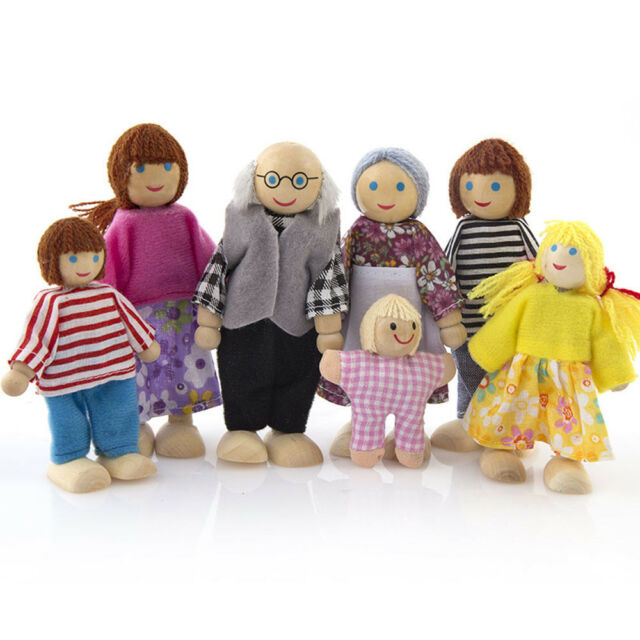 Wooden Furniture Dolls House Family Miniature 7 People Doll Toy For Kid Child AU