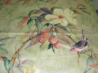 """~15 YDS~HERITAGE HOUSE~""""FLOWER SONG"""" BIRDS~DRAPERY UPHOLSTERY FABRIC FOR LESS~"""