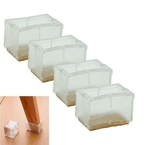 8x New Rectangle Chair Leg Caps Rubber Feet Protector Pad Furniture