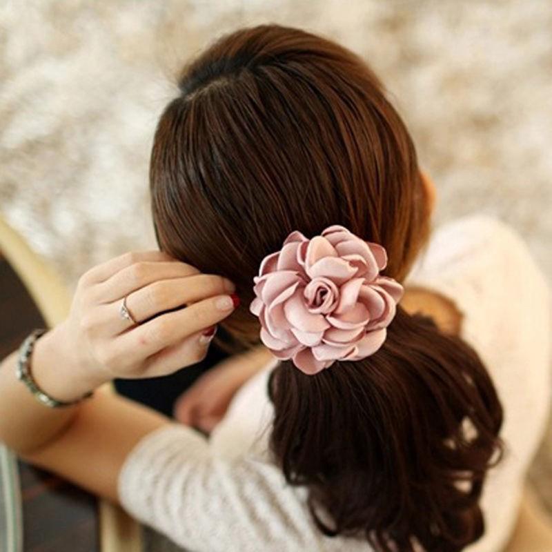 Elastic Rope Camellia Flower Pearl Hair Ties Holder Head Band Hairbands LC