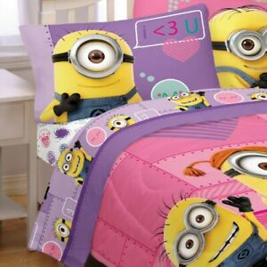 DESPICABLE-ME-MINIONS-BED-SHEET-PILLOWCASE-SET-Way-2-Cute-Purple-Heart-Bedding