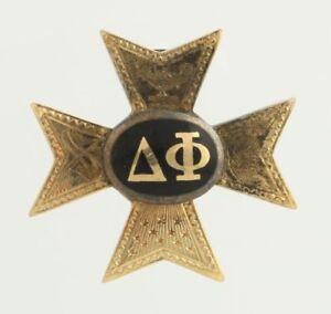 Delta-Phi-Vintage-Confraternita-Distintivo-Spilla-14k-Oro-Giallo-Membro-C-1898