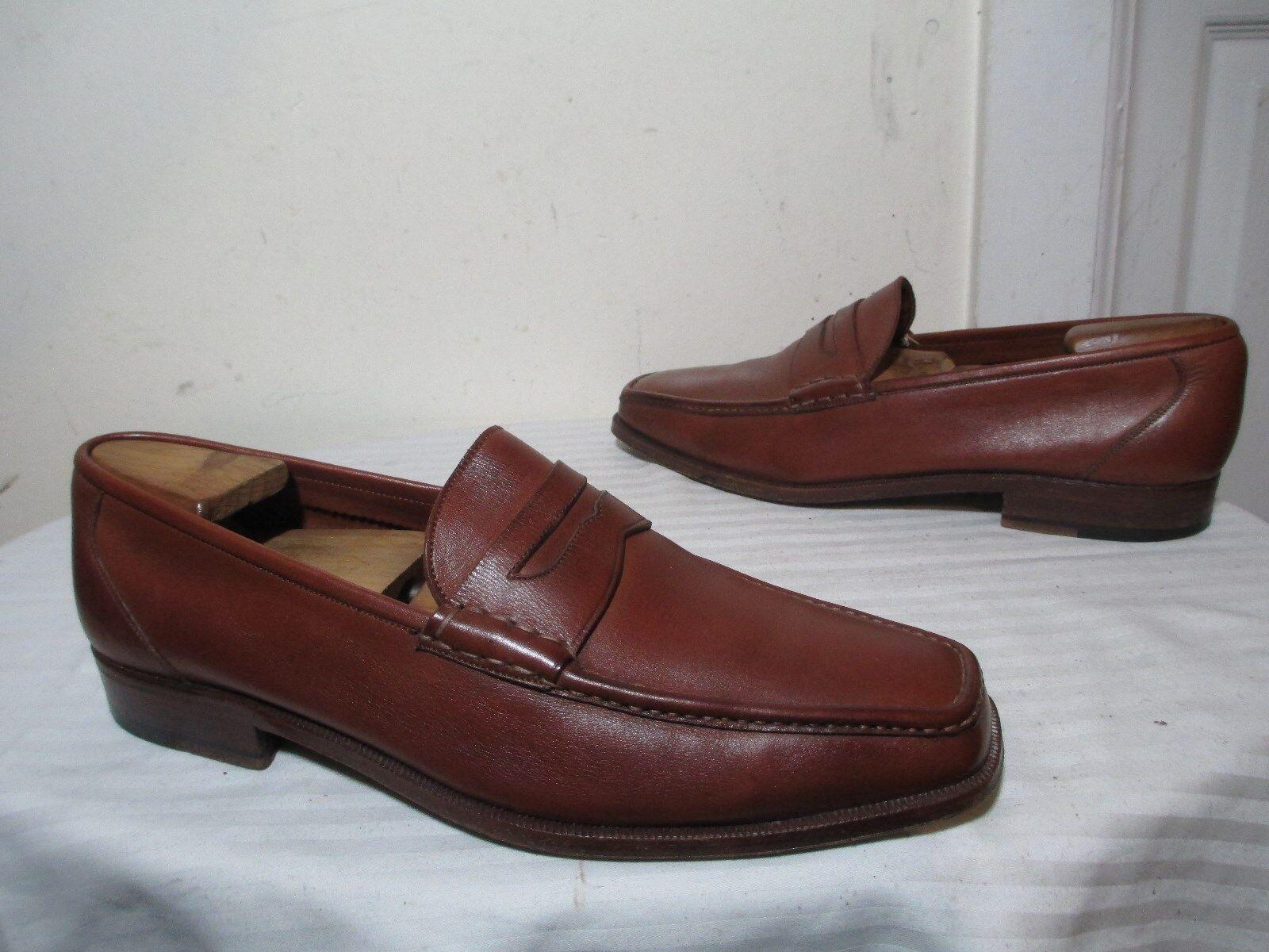 BRUGNOLI Homme en Cuir Marron Slip Ons Penny Mocassin Chaussures Taille 43