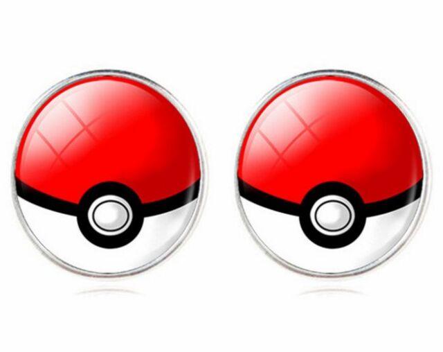Pokemon Go 14K White Gold GP Red Pokeball Stud Earrings E123