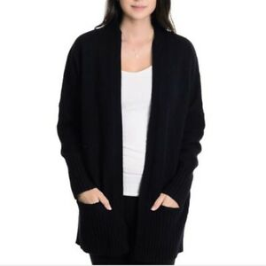 J-Crew-Dream-Ribbed-Yoga-Cardigan-Black-Wool-Cashmere-Blend-Sweater-L-Open-Front