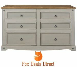 Chest Of Drawers Corona Grey Washed 6 Drawer Wide Pine