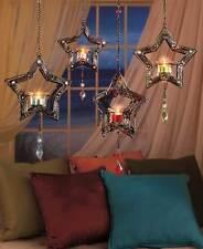 Hanging LED Tea Light RED Candle Jewel Metal Star Lantern Holder Flameless Decor