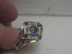 14kt-Art-Deco-Sapphire-Ring-Antique-Filigree-size-8
