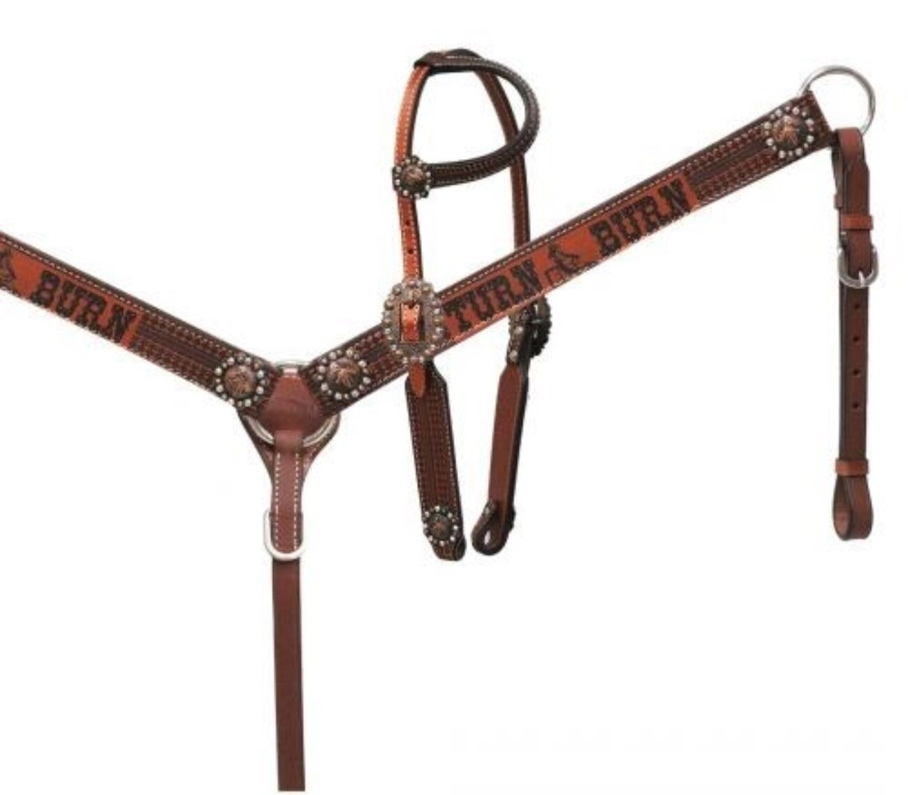 Showman Copper Shimmer Leather   Turn N Burn  Headstall and Breast Collar Set