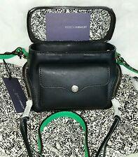 NEW $195 REBECCA MINKOFF Black  Leather Craig Crossbody Camera Handbag w/Green