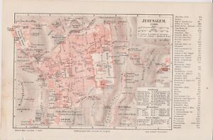 1890-Israel-Palestine-JERUSALEM-Old-amp-New-City-CITY-PLAN-Antique-Map