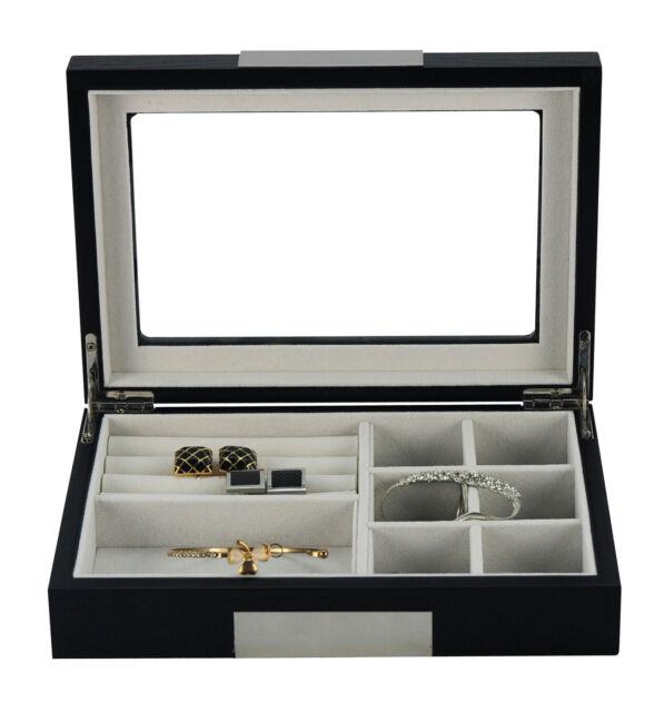 Elegant Black Wooden Cufflink Display Box Ring Tie Clip Storage Case Organizer