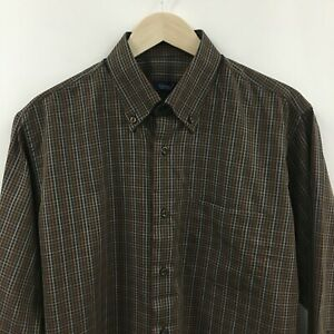 NEW-Mens-Large-40-CANALI-Plaid-Dress-Shirt-Made-in-Italy-SUPERB-8c