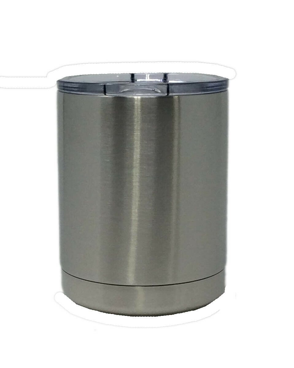 Stainless Steel Powder Coated Double Walled 10 Oz Ounce Lowball With Slider Lid