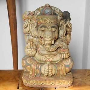 Ganesha Glücksgott Glücksbringer Statue bemalt 33cm Figur Steinguss Bali Deko