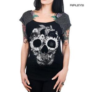 TOO-FAST-Clothing-Rockabilly-Black-SKULL-JUNGLE-Polka-Dot-Bolivar-Top-All-Sizes