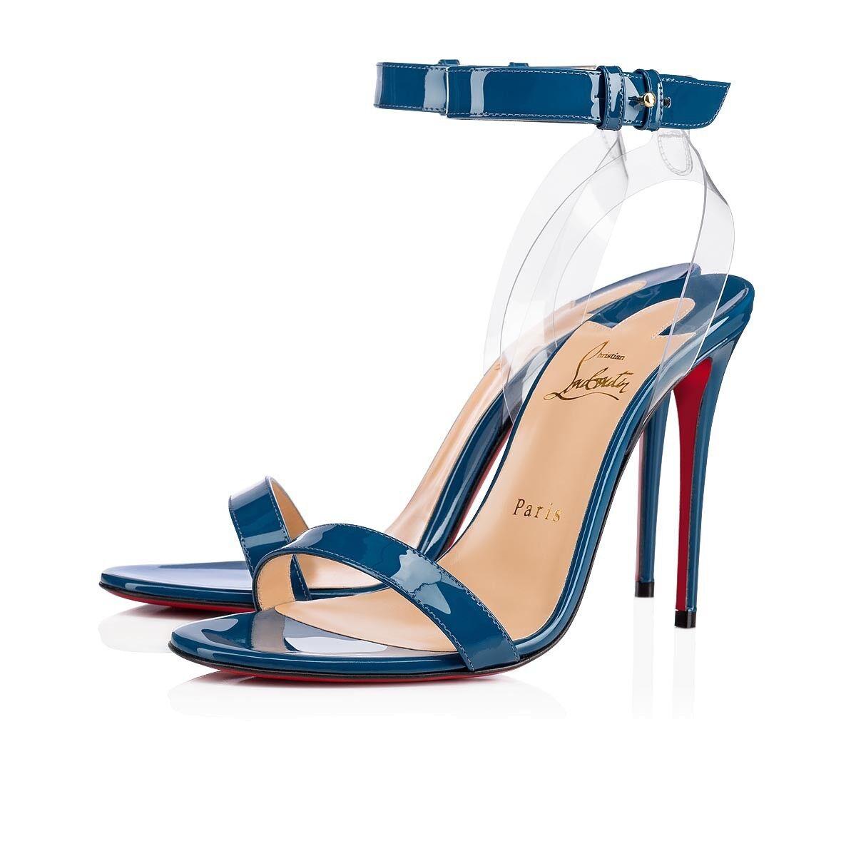 Christian Louboutin Louboutin Louboutin Jonatina 100 bleu Positano Ankle Strap Sandal Heel Pump 41 776fae