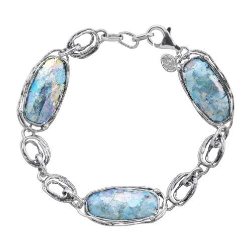 """Silpada /'Venetiae/' Roman Glass Station Link Bracelet in Sterling Silver 7.5/"""""""