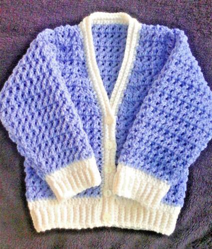 Handmade Hand Crocheted Unisex X-Stitch Baby Cardigan 100/% acrylic various cols
