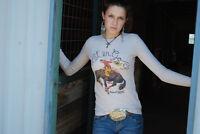 Original Cowgirl Thermal Vintage Western Rodeo Let'er Go Kitchy Bronco