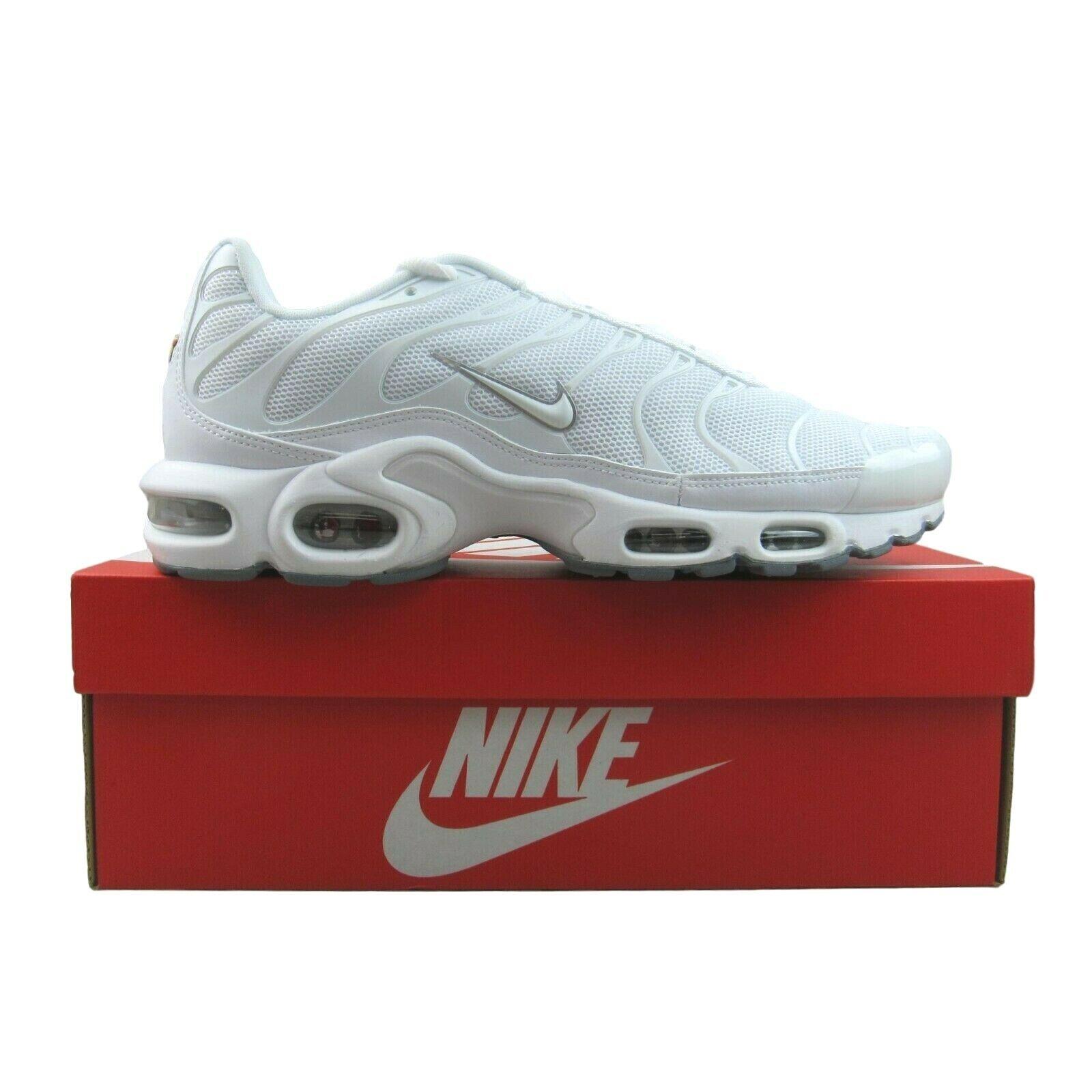 Nike Air Max Plus TN Triple White Running Shoes NEW 604133 139 Mens Multi Size