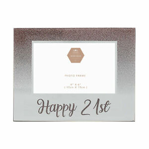 Rose-Gold-Glitter-and-Mirror-4-039-x6-039-Birthday-Photo-Frame-with-Number-Happy-21st
