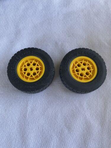 Lego Technic 62.4 X20 S Tire Wheel Yellow Rim Lot Of 2