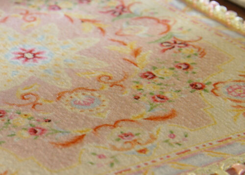 Stunning French Aubusson Design Pastel Pink Dollhouse Miniature Lace Rug
