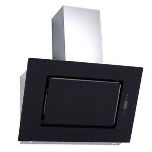 Dunstabzugshaube-90cm-Timer-Kopffreihaube-schwarz-Schraeghaube-Abluft-Umluft-Glas