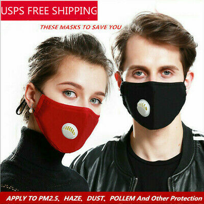 PM2.5 Face Shield Mouth Muffle Filters Cover Anti Dust Air Pollution Washable US