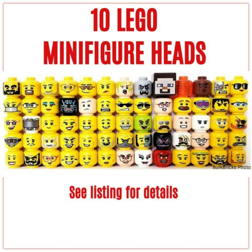 10 LEGO Minifigure Heads randomly picked from our premium lot - FREE SHIPPING!