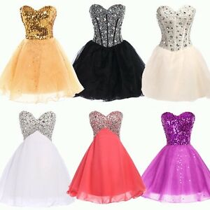 Womens New Short Sweetheart Wedding Bridesmaid Evening Party Prom ...