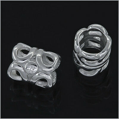 Sterling Silver Filigree Tube Spacer European Charm Bead 1PC #97206