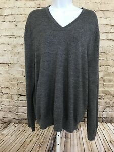 NWT-Express-Mens-Sz-XL-Gray-Black-Heathered-V-Neck-Sweater