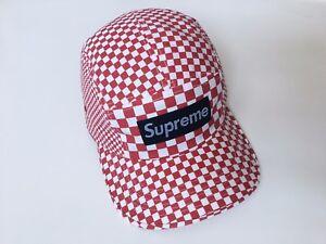 a7c53f12594 SUPREME CHECKERED CAP  2008  RED WHITE BLACK CAMP 5-PANEL HAT BOX ...