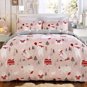 Bellagio-Childrens-034-osos-polares-034-Navidad-Navidad-Funda-De-Edredon-Juego-De-Cama-Rosa