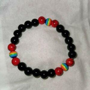 034-Pride-034-Rainbow-round-Beads-Stretch-Bracelet-8mm-Handmade