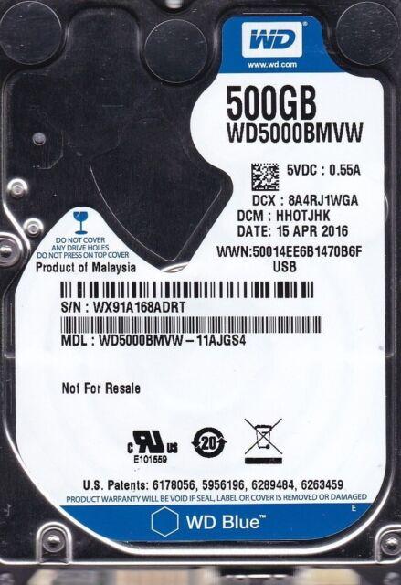 "Western Digital  WD5000BMVW-11AJGS4 dcm HH0TJHK  500GB 2.5"" USB 3.0 HDD B22-21"