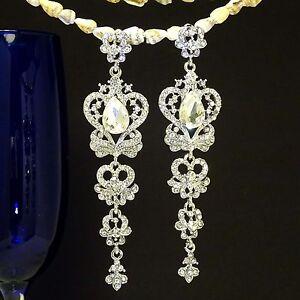 White-K-Plated-Butterfly-Elegant-Silver-Austrian-Crystal-Bridal-Earrings-ED1040