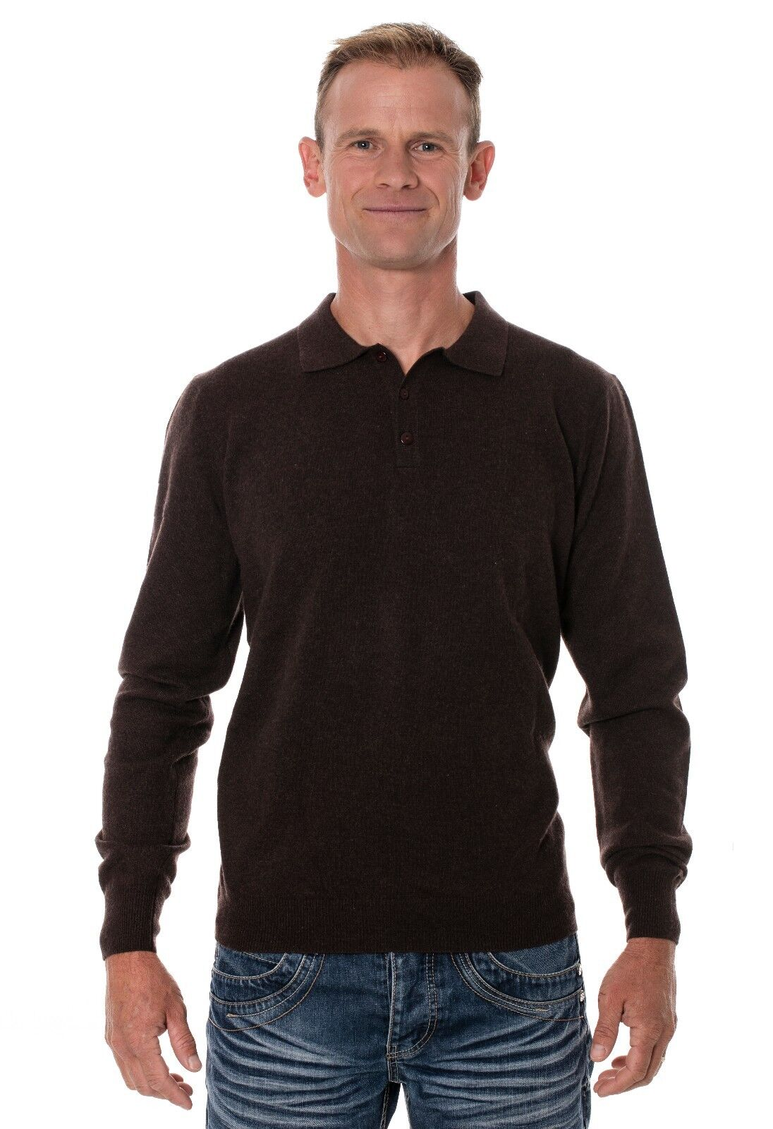 Ugholin Men's 100% Yak Wool Knit Polo Sweater, Brown