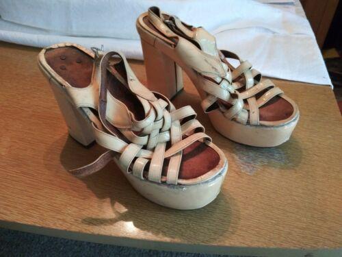 Vintage Ladies Platform Shoes From 70's.