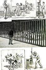 Leavenworth Prison Barber Shoe Maker  KANSAS 1888 Bunnell Matted Engraving Print