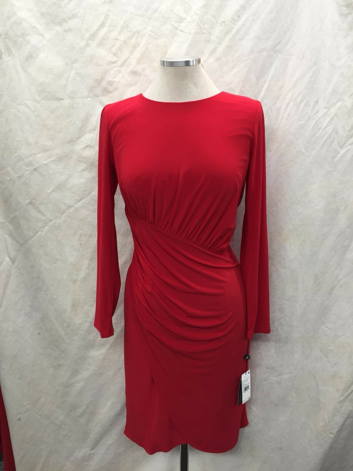 ADRIANNA PAPELL DRESS RED JERSEY STRETCH FABRIC NEW WITH TAG SIZE 10 RETAIL 129