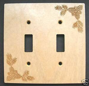 Laser Engraved Pine Cone Double Switch Plate Cover Ebay